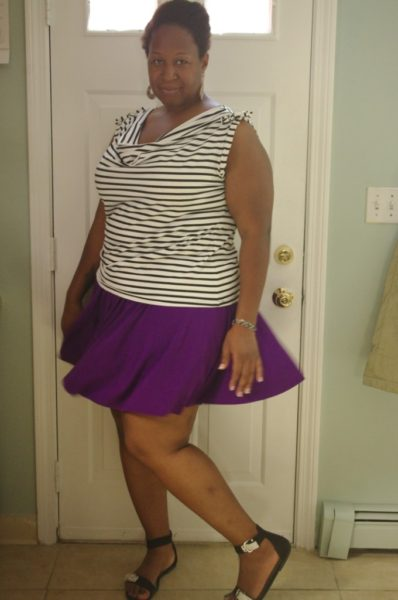 Stripes and a mini skirt -- breaking the fashion rules on Making the Flame! Body positive sewing & style.