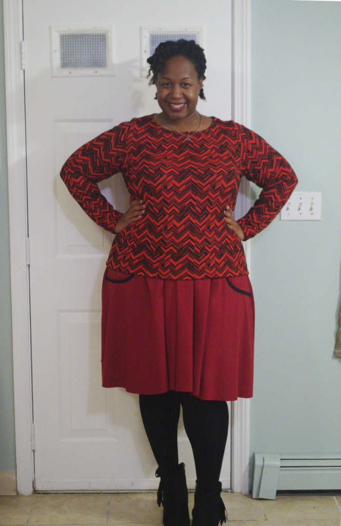 makingtheflame making the flame ebi poweigha body positive sewing plus size Butterick B6258 red black skirt top shirt knit work power colors