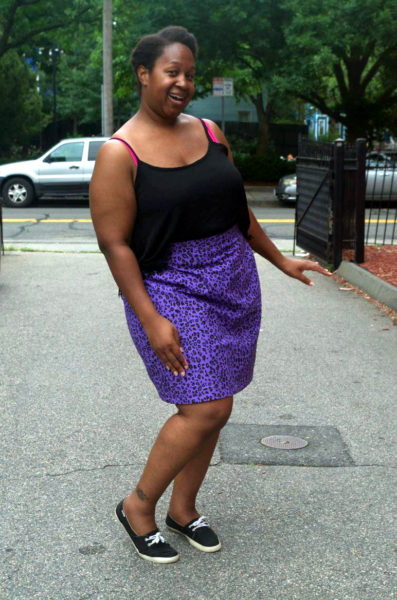 Body positive pencil skirt and creative, purple animal print, style at Making the Flame.