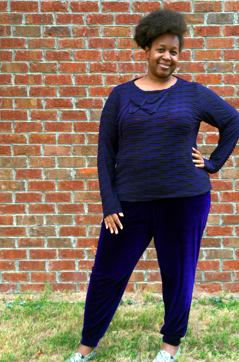 """Great Grape Gams"" Burda 6789 pants, a plus size pattern - Making the Flame 